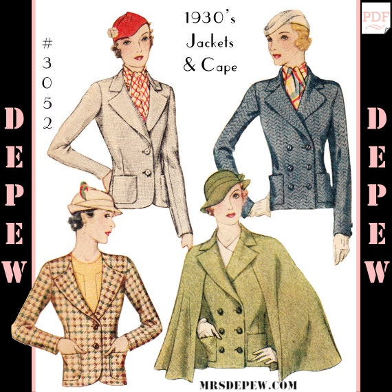 1930s Sewing Patterns- Dresses, Pants, Tops 1930s Jacket and Cape $8.50 AT vintagedancer.com