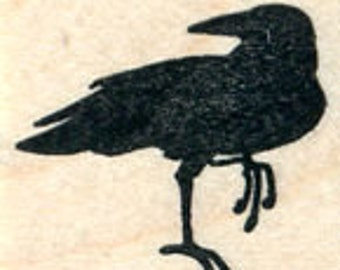 Raven Rubber Stamp, Small Black Bird, Crow A31010 Wood Mounted