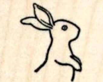 Tiny Bunny Rabbit Rubber Stamp, Upright Facing Right A31809 Wood Mounted