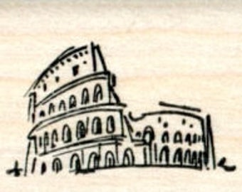 Colosseum Rubber Stamp, Roman Coliseum, Italy, Travel Series D33208 Wood Mounted