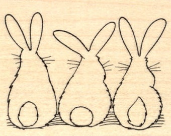 Three Bunny Rabbit Behinds, Hare Tails Rubber Stamp H20802 Wood Mounted