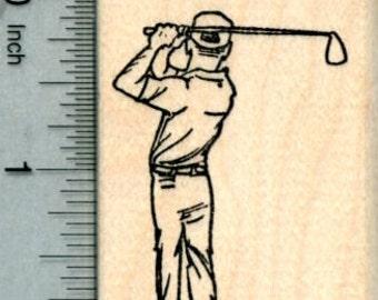 Golf Swing Rubber Stamp, Golfing Man H30410 Wood Mounted