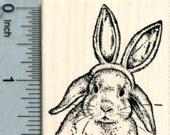 Easter Rabbit Rubber Stamp, Bunny Wearing Ears J33913 Wood Mounted