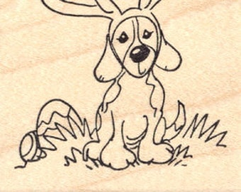 Easter Beagle Rubber Stamp K13116 Wood Mounted