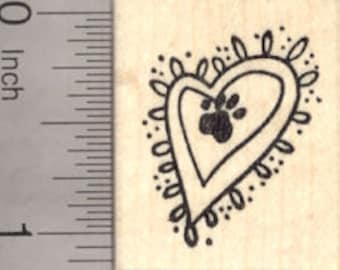 Cat Valentine Series .5 inch A29617 WM Small Heart Paw Print Rubber Stamp Dog