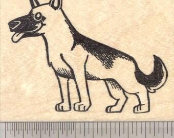 German Shepherd Rubber Stamp Dog Sitting J35813 Wood Mounted