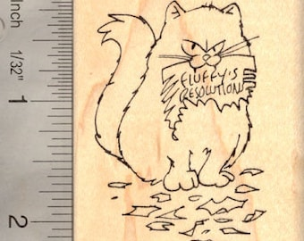 Cat New Year's Resolution (Fluffy) Rubber Stamp J-15301 Wood Mounted