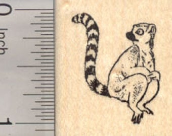 Ringtailed Lemur Rubber Stamp, Madagascar Primate, Small D25124 Wood Mounted