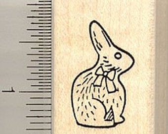 Chocolate Easter Rabbit Rubber Stamp B9113 Wood Mounted
