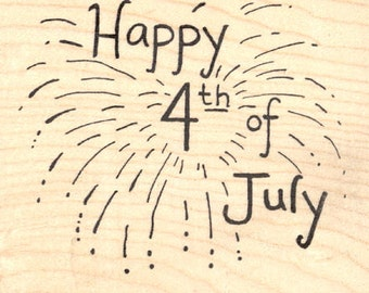 Happy 4th of July Rubber Stamp, Fireworks Display L21801 Wood Mounted