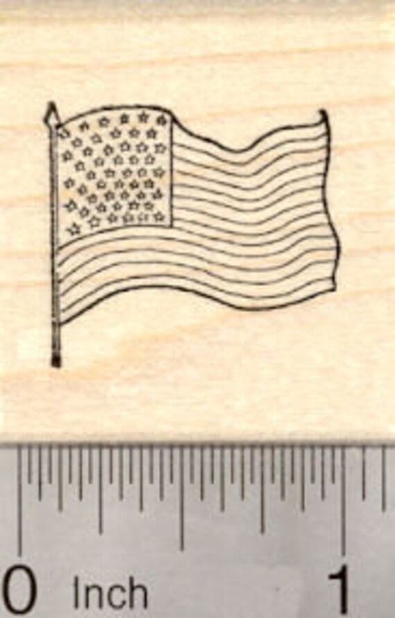 Small American Flag Rubber Stamp