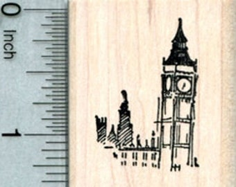 Tiny Big Ben Rubber Stamp, Westminster London, World Travel Series D33210 Wood Mounted