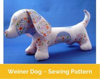 Weiner Dog Sewing pattern (PDF) | dachshund pattern, sausage dog pattern, dachshund toy, wiener pattern, Dog Sewing pattern, doxie, dog,