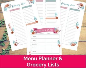 FLORAL MEAL PLANNER & Grocery List Printable | flowers, meal planning, menu planner, shopping list