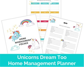 Unicorn Printable Mom Planner | US letter size planner for moms, A4 size family planners, 18 pages included, unicorn theme