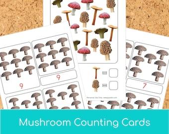 Montessori Mushroom Counting Cards