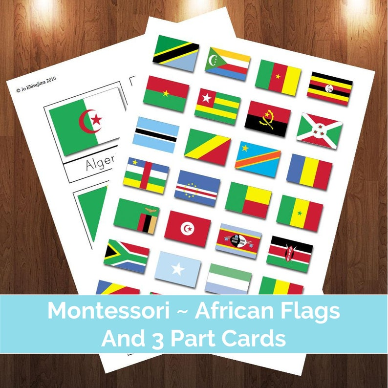 Montessori Flags Of Africa for puzzle maps & 3 Part Cards | Montessori  three part cards, African flags, printable flags of africa, flashcard