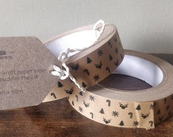 Self Adhesive Christmas theme Kraft Paper Tape - Ideal for Packaging and Gifting - 25mm x 50m - Plastic Free/Recyclable/Eco Friendly