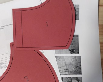 Card template for face covering non-clinical mask & instructions: 5 sizes available