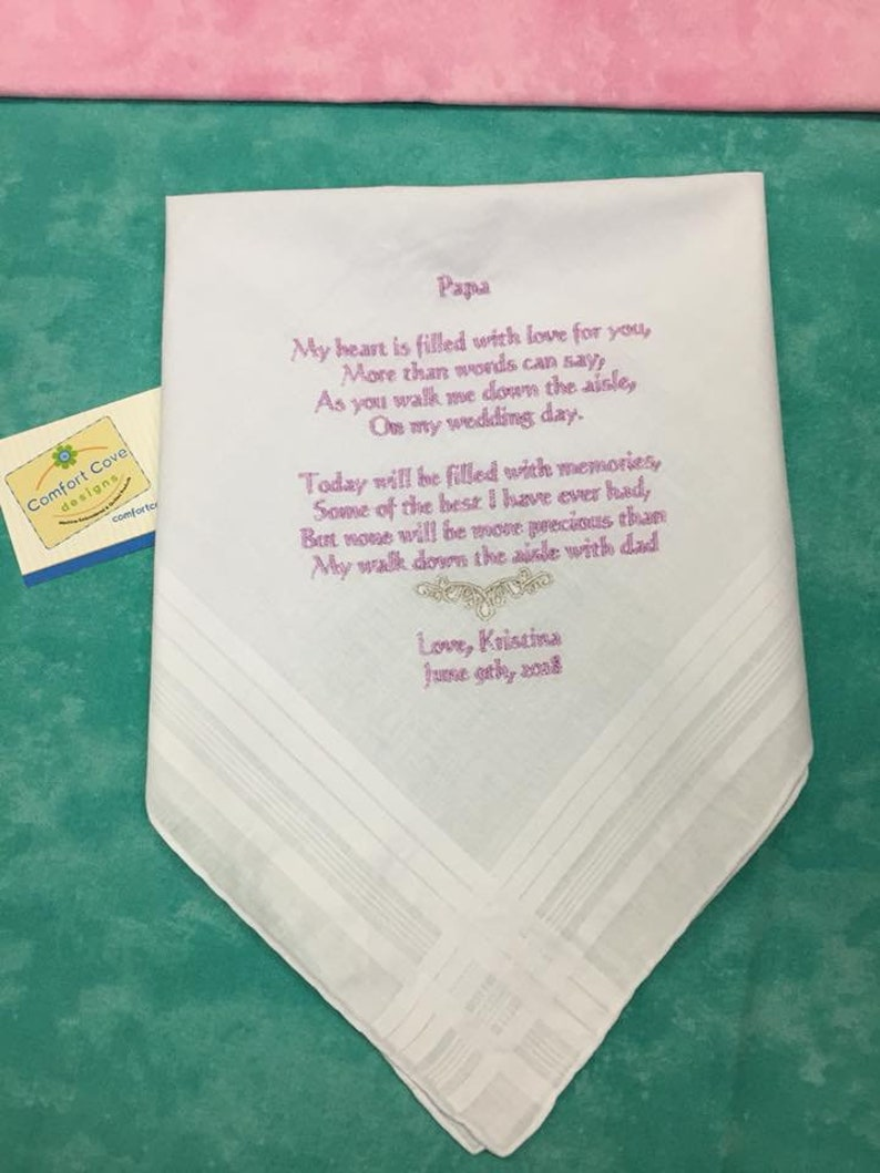 SET 2 MOTHER /& FATHER OF THE BRIDE WEDDING PERSONALISED HANDKERCHIEF BUTTERFLY