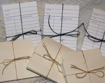 Blank White Library Cards and Card Pockets