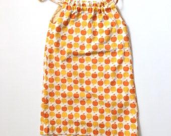 Vintage Handmade Yellow and Orange Apple Sundress 1970s