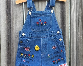 Vintage 90s Denim Overalls Garden Embroidery Lace and Red Ribbon