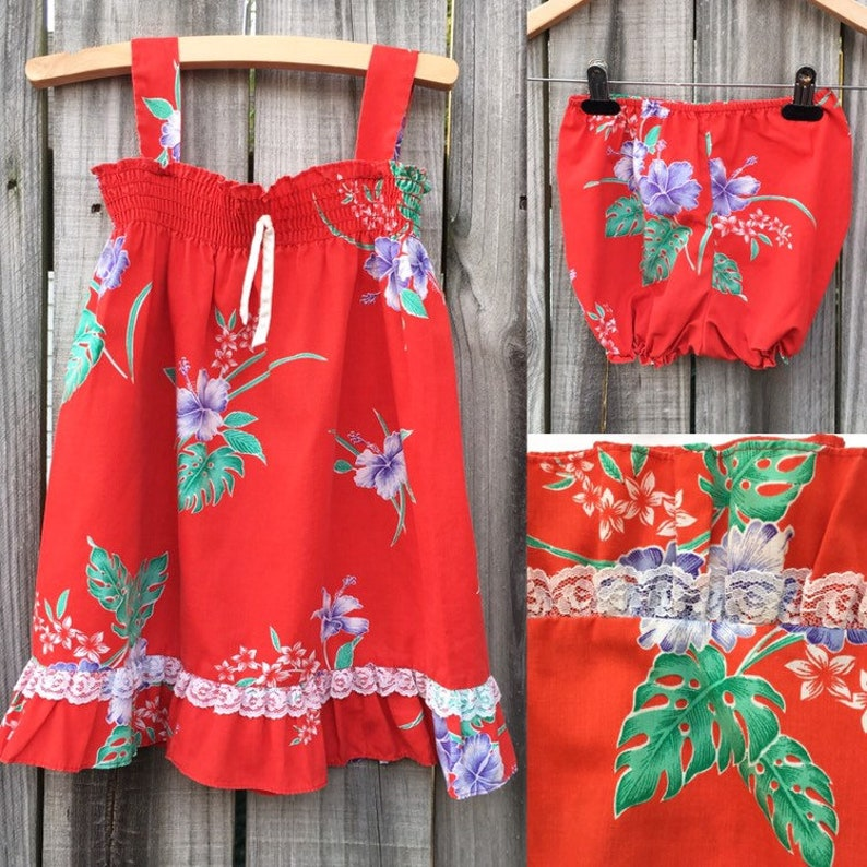 08c80ad90b46 Vintage 80s Red Hawaiian Sundress and Short set | Etsy