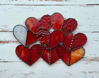 Stained Glass Heart Suncatcher   Valentines Gift   Red