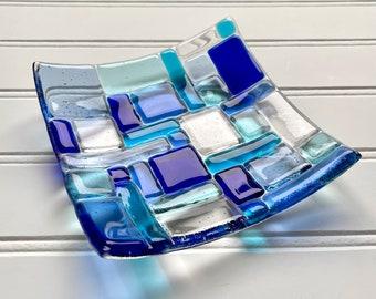 Mosaic Dish   Blue Fused Glass   Decorative or Jewelry Dish