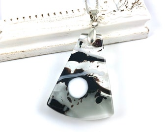 Black & White Fused Glass Necklace   Glass Pendant including Chain