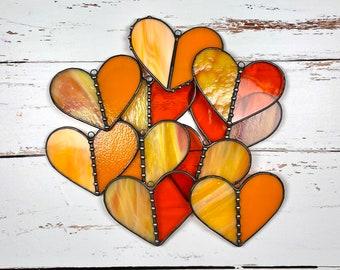 Stained Glass Heart Suncatcher   Valentines Gift   Orange