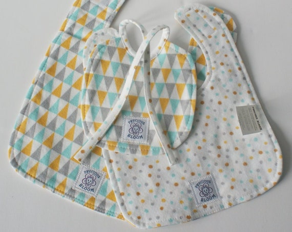 Precious Bloom's Hand-made Organic Cotton Flannel Bib Set (3 sizes): Bunting. B106