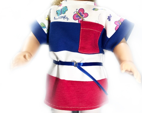 """3-piece Casual Loose T-shirt/Leggings/Belt Outfits (4 variations) for American Girl and Other 18"""" Dolls"""