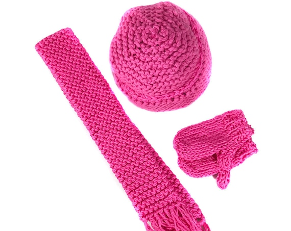 "Hand-knit Cotton Hat Sets (Hat, Scarf and Mittens) for 18"" Dolls."