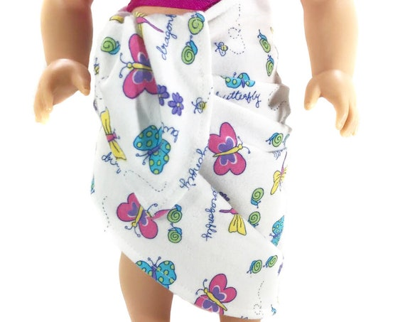 "American Girl Doll Clothes - Doll Clothing - Swimsuit Coverup - Girl Gift - Cotton Swimsuit Cover-up / Wraparound Skirt for 18"" Dolls. A104"