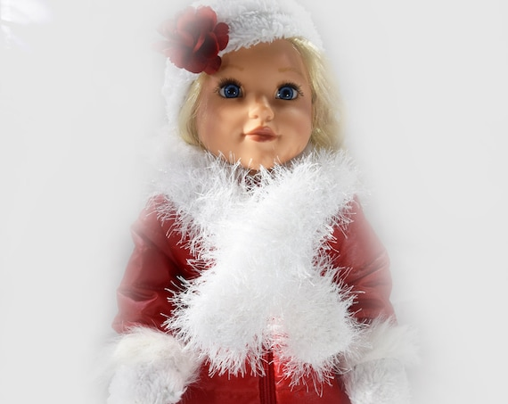 """Doll Hat Set, Quality Hand-made Hat Sets, 18"""" Dolls, Fun Fur Hat Set, Cotton Hat, Scarf & Mittens, American Girl Doll Accessories, Girl Gift"""