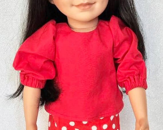"Hand-made Red Cotton Blouse with 3/4 Length Sleeves and Back Bow for 18"" Dolls."