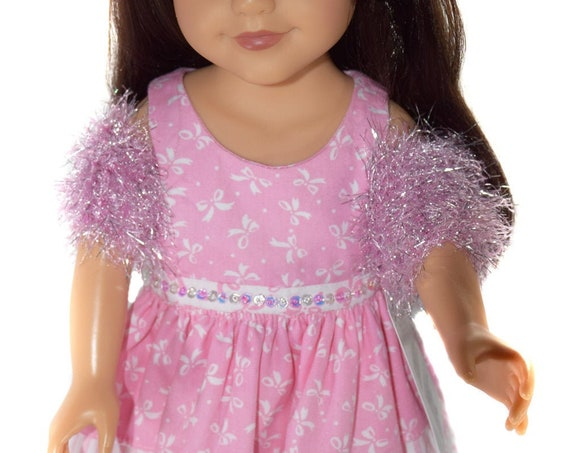"""Hand-Knit Doll Shrugs, Girl Gift, Sparkly Shrug for 18"""" Dolls, Fuzzy Hand-Knit Stole, Doll Shrug, American Girl Doll Clothing A100"""