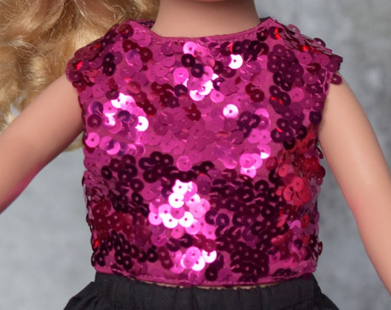 Fuchsia Sequin Doll Blouse, Short or Long Black Skirt, Quality Hand-made Party Outfit, Party Blouse, American Girl Doll Clothing, Girl Gift