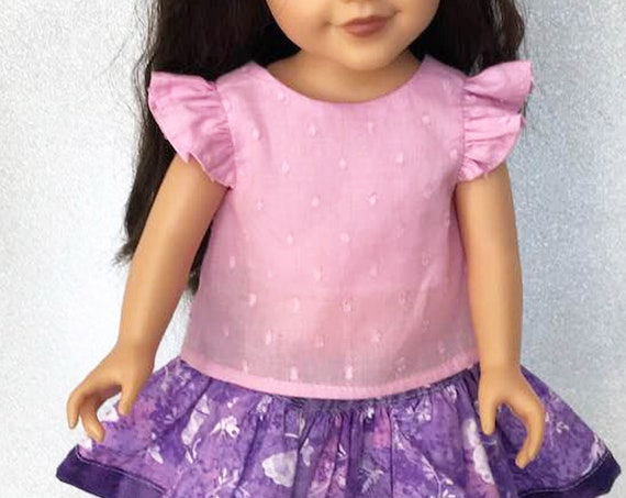 "Pink Doll Blouse with Back Bow in 3 Sleeve Variations (Flutter, 3/4 and Long) for 18"" Dolls"