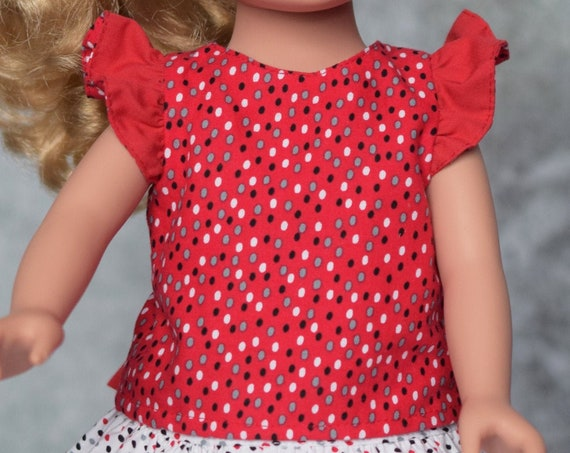 2-piece Cotton Doll Outfit, Quality Hand-made Blouse, Blouse with Flutter Sleeves and Back Bow, Black Skirts, American Girl Doll Clothing