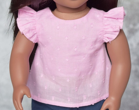"Pretty Pink Cotton Blouse with Back Bow for 18"" Dolls, Blouse with Flutter, 3/4 or Long Sleeves, American Girl Doll Clothing, Girl Gift"