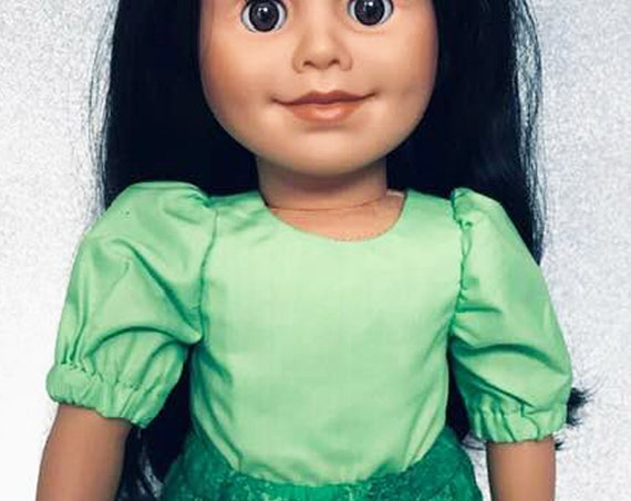 """Hand-made Green Cotton Blouse with Back Bow Detail for 18"""" Dolls. Two variations: 3/4 Sleeves and Long Sleeves"""