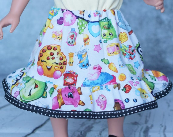 Cotton A-line Doll Skirt, Shopkins Skirt with Ruffle, 18-inch Dolls, American Girl Doll Clothing, Girl Gift, Quality Hand-made Doll Skirt