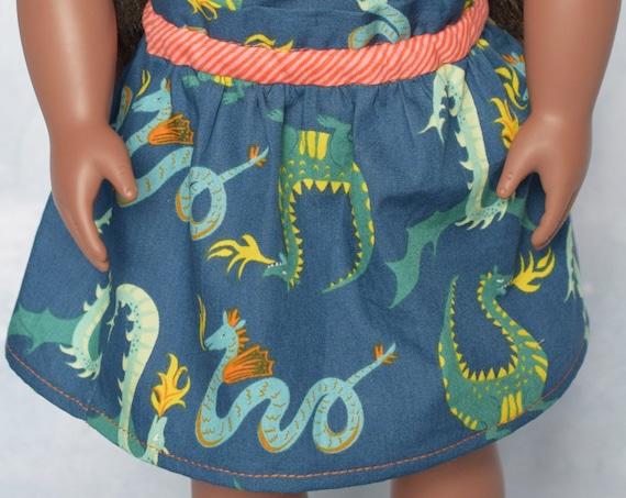 "Cotton Doll Skirts, Paper Bag Organic Cotton Skirts, Hand-made Knee-Length Full Skirts, 18"" Dolls, American Girl Doll Clothing, Girl Gift"