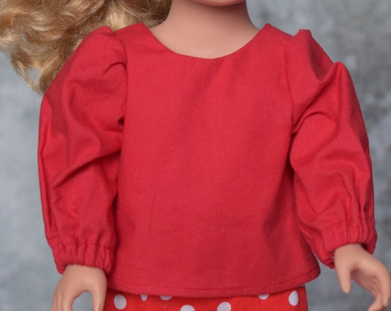Cotton 2-piece Doll Outfit, Quality Hand-made Doll Outfit  Red Blouse & Skirt, Doll Blouse with Bow, American Girl Doll Clothing, Girl Gift