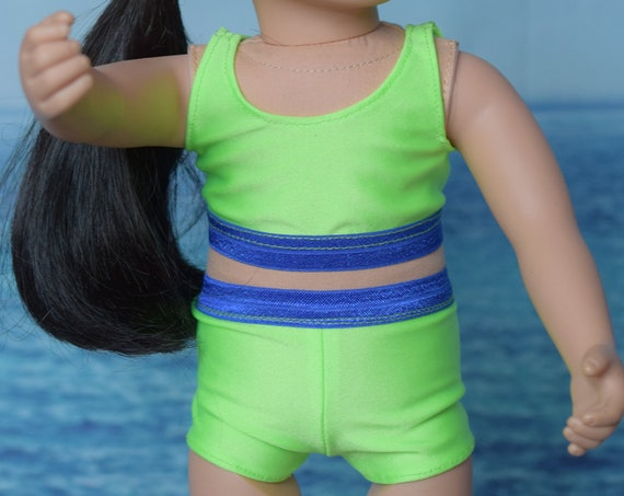 """Green Cheer Practice Outfit for 18"""" Dolls, Gymnastics Practice Outfit, 2-Piece Swimsuit, American Girl Doll Clothing, Girl Gift"""