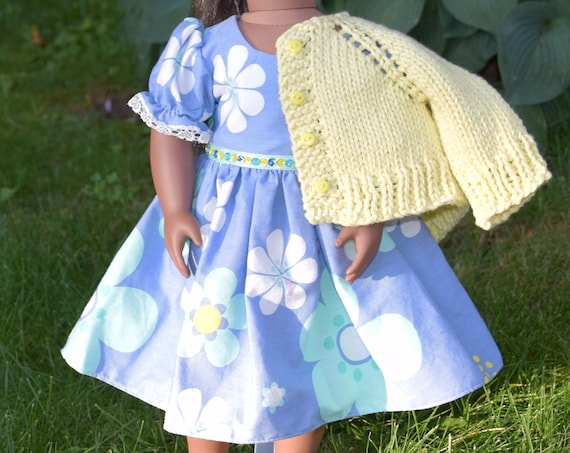 """Cotton Doll Dress, Party Dress with Puff Sleeves & Sequin Detail, Sized to Fit Most Popular 18"""" Dolls, Quality Hand-made Dress, Girl Gift"""