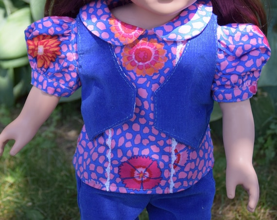"3-piece Cotton Outfit with Pants, Blouse & Vest for 18"" Dolls, American Girl Doll Clothing, Girl Gift, Quality Hand-made Doll Outfit A123"